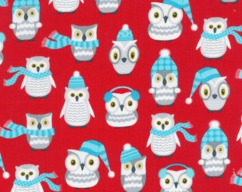 Polar Pals by Robert Kaufman - Red Owls - Cotton Woven Fabric