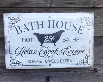 bathroom decor, wood signs, bathroom signs, primitive rustic bathroom signs, farmhouse decor, farmhouse bathroom signs, hand painted signs