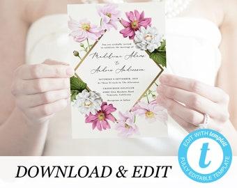 Floral wedding invitation template Gold Wedding invitation Printable wedding invites Templett Printable invitations DIY
