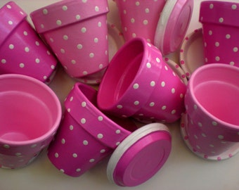 Polka Dot Flower Pots - Set of 25 - 3.5 Inch - Painted Flower Pots - Kids Party Favors