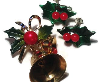 Vintage Christmas Bells and Holly Pin and Earrings