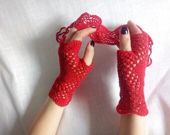 Crochet Mittens, Fingerless Gloves, Red, 100% Cotton.Mittens Summer -2018