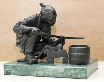 Bronze sculpture Office decor Bronze and marble Japanese gift sculpture Japanese Master Unique Sculpture gift for him Lover of swords gift