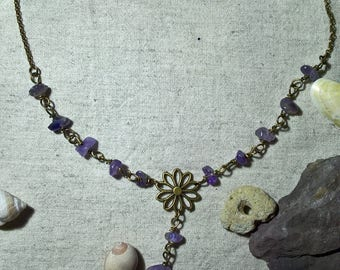 crew neck made of amethyst gemstones and bronze chain Choker