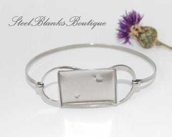 Stainless Steel Bangle Bracelet Blanks with rectangular tray 16x24mm