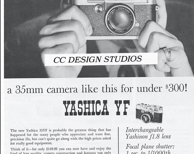 Vintage Yashica YF 35mm Film Camera Magazine Advertisement / Original from January 1960 - The YF is a rather rare camera too