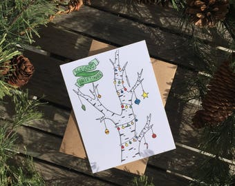 Seasons Greetings Holiday Card set,  Christmas card, Xmas card, blank card, Christmas, holiday, Christmas gift, holiday gift, holiday tree