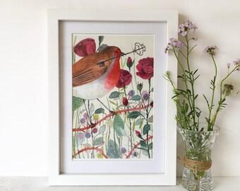 The Robin Giclée Art Print // A5 and A4 sizes - The Secret Garden watercolour painting - illustration - wall art - nursery decor