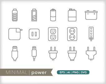 Minimal power line icons | EPS AI PNG | Geometric Electricity Clipart Design Elements Digital Download