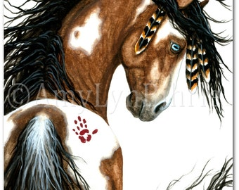 Majestic Horses - Pinto War Paint Native Feathers -Fine Art Prints by Bihrle mm106