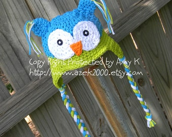 Blue and Green Owl Hat, Crochet baby boy hats, Newborn to 6 mnth, Baby Boy Owl Hats