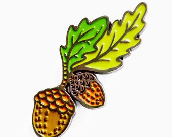 ACORN enamel pin - plant pins - lapel pin - plant lady gift - acorn brooch - woodland pins - forest jewelry - gift for her - oak pin