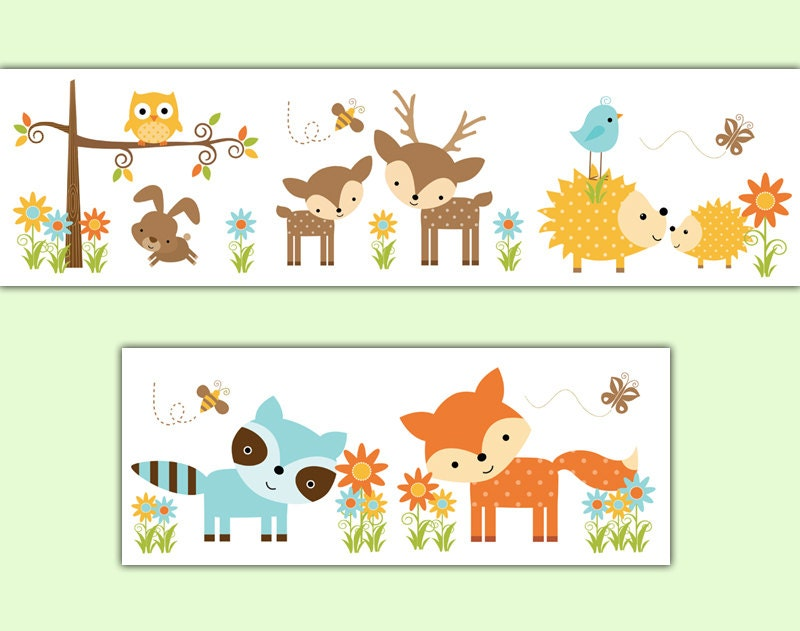 WOODLAND NURSERY DECAL Wallpaper Border Forest Creatures