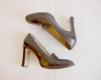 Vintage Womens Shoes High Heel Brown Leather platform shoes Size 8,5UK 10,5US