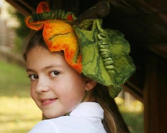 Pumpkin Headpiece - Felted Pumpkin head band for Kids and Adults - Halloween pumpkin Fascinator - Pumpkin Halloween headwear - To order