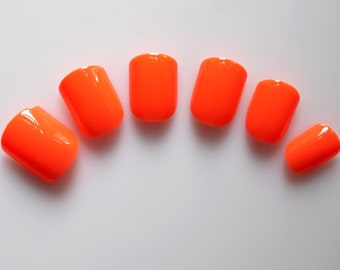 24 False Nails, Color Nails, Short Squoval Nails, High Quality Artificial Nail Tips w/Adhesive Tabs - Orange  #FREE SHIPPING