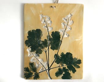 Ceramic Wall Hanging, Trivet,  or Cheese Board, Dutchman's Britches Hand Painted Pottery Hanging Tile