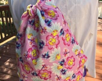 Pink Daisy Backpack, Pink Daisy Drawstring Bag, Pink Daisy Children Backpack, Pink Daisy Crossbody Bag