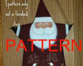 EPATTERN #0048 Star Santa wall hanging, decorative painting pattern, Santa painting pattern, Christmas pattern, tole painting pattern,