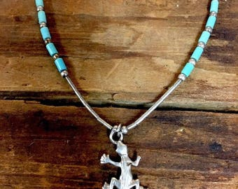 Native American Necklace Liquid Sterling Silver Turquiose Lizard Pendant