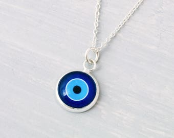 Evil Eye Necklace, Evil Eye Pendant, Good Luck Charm, Protection Necklace, Everyday Jewelry, Minimalist Jewelry, Layering Necklace