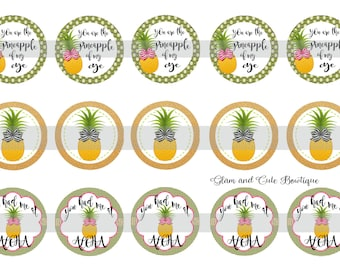 "Pineapples INSTANT DOWNLOAD Bottle Cap Images 4x6 sheet 1"" circles"