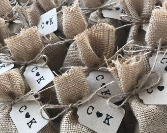 Party Favour Tags - Wedding Favour Tags - Engagement Favour Tags - Kraft Paper Tags - Customised Tags with Initials (50)