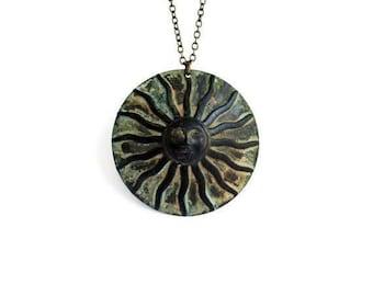 Sun Necklace / Verdigris Patina / Whimsical Celestial / Large Sun Necklace / Sun Face