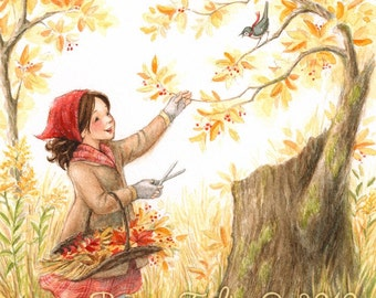 Gathering Autumn Joys - Art Print