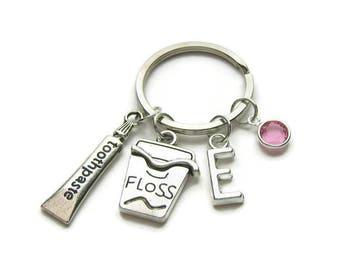 Personalized Dental Keychain, Dental Hygienist Keychain, Dentist Keychain, Dental Floss Keychain, Tooth Paste Keychain, Dental Jewelry Gift
