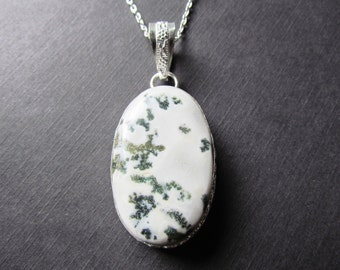 Dendrite Necklace - Statement Necklace - Opal Dendrite - Dendrite Jewelry - Opal Dendrite Pendant -