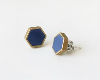 Navy honeycomb stud earring hexagon