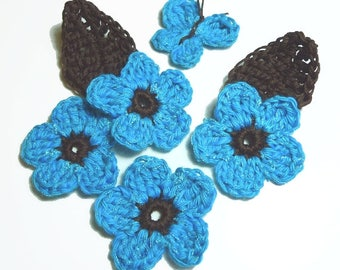 set flowers, leaves and Butterfly crocheted turquoise and chocolate