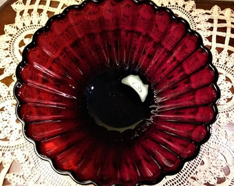 Vintage Ruby Red Fluted Glass Bowl