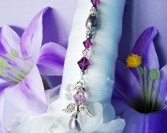 Purple Wedding Bouquet Charm Amethyst Swarovski Crystal and Pearl Angel