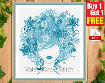 Modern Cross Stitch Pattern, Lady Winter Cross Stitch Pattern, Cross Stitch Chart , sp-181