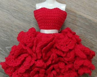 """Crocheted 11.5"""" Doll Red Ruffled Party Dress / Handmade Red Ruffled Party Barbie Dress / Doll Clothes"""