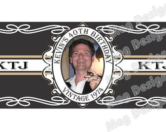 Birthday Cigar Label - Your Birthday Year - Custom Photo Cigar Bands Wedding Party and Groomsmen Cigar Bands
