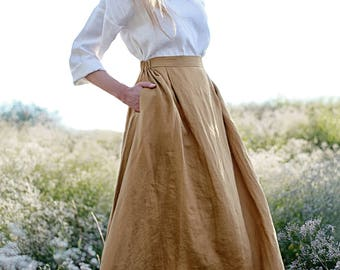 Linen Skirt,  Maxi Linen Skirt, Mustard Linen Skirt, Linen Skirt with Pockets, Linen Maxi Skirt, Ruffled back Skirt, Long Linen Skirt