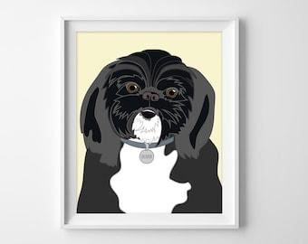 Pet Portrait Illustration - Custom Dog Pop Art Caricature - Personalized Gift or Pet Memorial Remembrance Artwork Keepsake Print or PDF