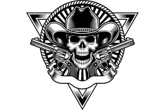 Cool Skull Logos With Guns Cowboy Logo 2 G...