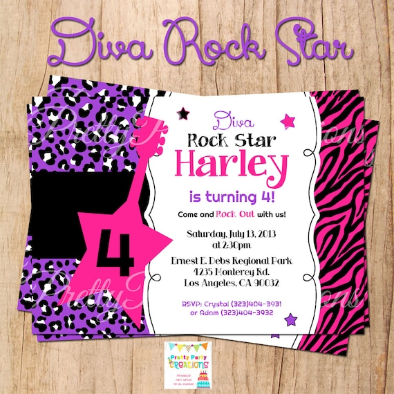 ROCK STAR DIVA invitation You Print with or without photo