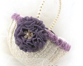 Flower Girl Basket, Ivory, Plum, Gold, Purple, Cream, Lace Basket, Crystals, Pearls, Pearl Handle, Elegant Wedding, Vintage Style, Gatsby