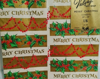 2 sheets vintage Norcross Merry Christmas & holly wrapping paper - green gold red in original packaging unused great for scrapbooking crafts