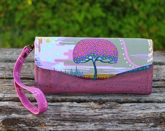Enchanted Tree Necessary Clutch Wallet (NCW) with multiple interior pocket, card slots, cork leather base and wrist strap