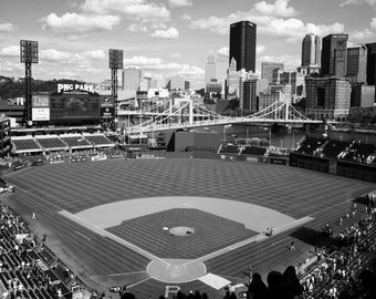 PNC Park, Home of the Pittsburgh Pirates, 11x14 black and white, fine art print, great gift for Dads