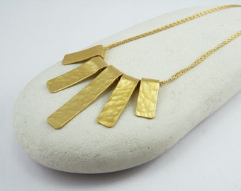 Long fringe necklace Gold stick necklace Hammered gold necklace Long gold necklace Fringe necklace
