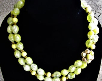 Vintage Yellow Beaded 2 Strand Necklace
