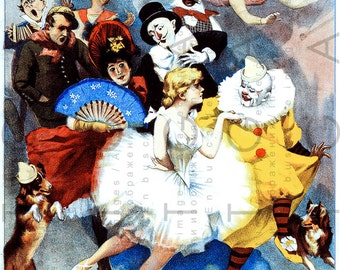 Stunning Victorian CIRCUS Poster FRENCH Illustration. Vintage Circus Crew Art Print. antique Circus Digital Download.