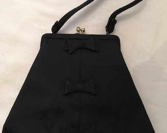 Lederer de Paris Black Satin Evening Bag